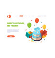 birthday landing celebration delicious cake gifts vector image vector image