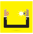 Businessman hand with creative light bulb vector image