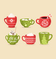 christmas cups flat set vector image vector image