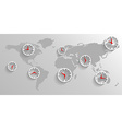 Clock on the map of the world business concept vector image vector image