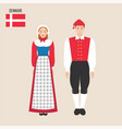 danish man and woman in traditional costumes vector image