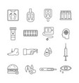 diabetes icon set - flat black and white line vector image vector image