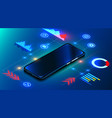 digital mobile technology cosmos style in blue vector image vector image