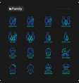 family thin line icons set vector image vector image