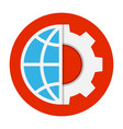 globe and gear flat icon vector image vector image