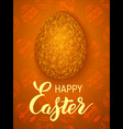 golden easter egg on a floral background vector image vector image