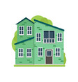 green paint residential house in modern safe vector image vector image