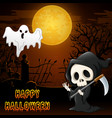 halloween costumes with grim reaper and flying gho vector image