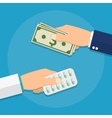 Hand giving money for medicine vector image