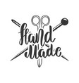 handmade emblem template with scissors and vector image vector image