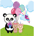 happy birthday panda cartoon vector image