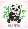 happy mothers day card with cute pandas vector image vector image