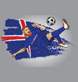 iceland football player with flag as a background