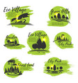 icons for eco park and gardening company vector image vector image