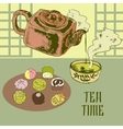 Japanese teapot and cup vector image