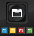kitchen stove icon symbol Set of five colorful vector image vector image