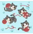 little cat play a yarn with footstep background vector image