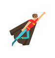 male superhero in classic comics costume in flying vector image vector image
