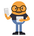 man with calculator on white background vector image vector image