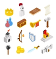Medieval isometric 3d icons set vector image vector image