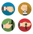 men watches 4 round flat icons vector image