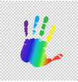 multicolored silhouette of human handprint on vector image vector image