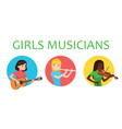 musicians girls is inspired to play different vector image vector image