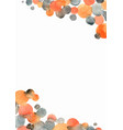 orange grey and black polka dot watercolor border vector image