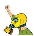 protester in a gas mask protest for clean air vector image