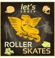 roller skates vintage poster vector image vector image