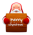 santa claus and wooden sign vector image vector image