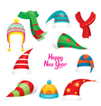 Santa Claus Red Hat Set Christmas Clothes Element vector image