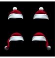 Santa hat black background vector image vector image