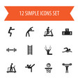 set of 12 editable fitness icons includes symbols vector image vector image