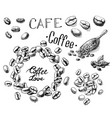 set of coffee beans and leaves scoop vector image vector image