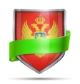 Shield with flag Montenegro and ribbon vector image vector image