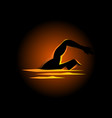 silhouette of a man figure swimming vector image vector image