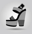 Single platform high heel shoe with thick heels vector image