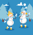 snowmen having snowball fight banner vector image