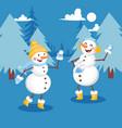 snowmen having snowball fight banner vector image vector image