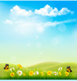 spring nature background with a green grass and vector image vector image
