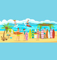 surfing on beach vector image vector image