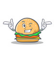 wink burger character fast food vector image vector image