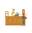 Woman Buying Pastry From The Baker In The Bakery vector image vector image