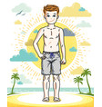 young teen boy cute children standing in colorful vector image