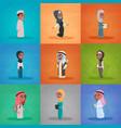 arab children girls and boys set small cartoon vector image