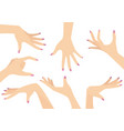 set of beautiful woman hands vector image