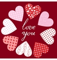 hearts and text Love You vector image