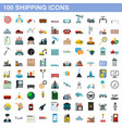 100 shipping icons set flat style vector image vector image