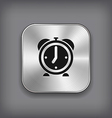 Alarm clock icon - metal app button vector image